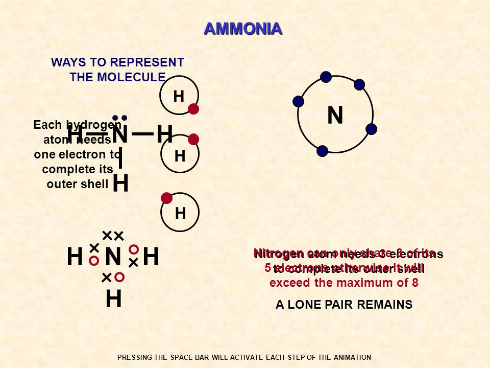 AMMONIA N Each hydrogen atom needs one electron to complete its outer shell Nitrogen atom needs 3 electrons to complete its outer shell Nitrogen can o