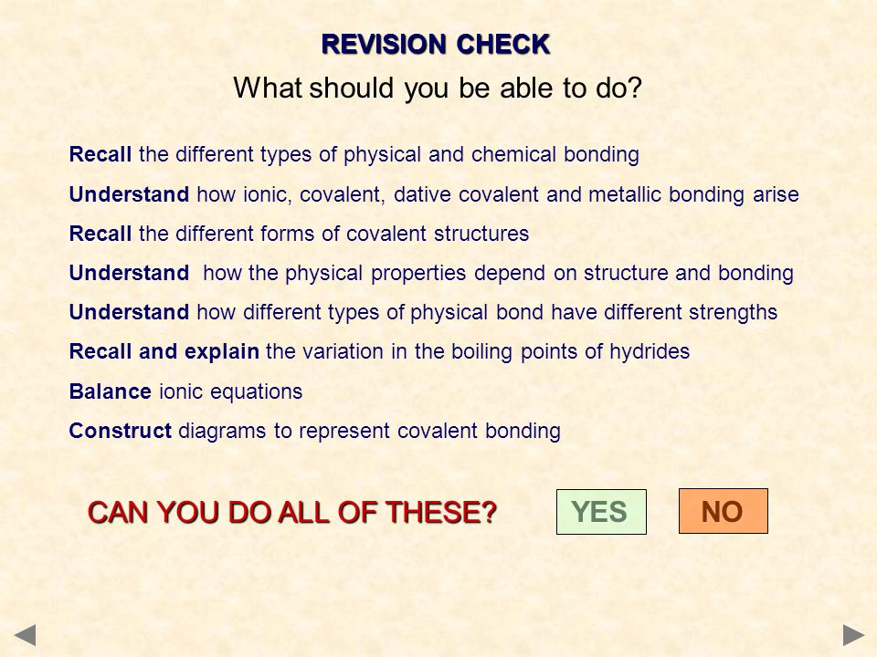 REVISION CHECK What should you be able to do? Recall the different types of physical and chemical bonding Understand how ionic, covalent, dative coval