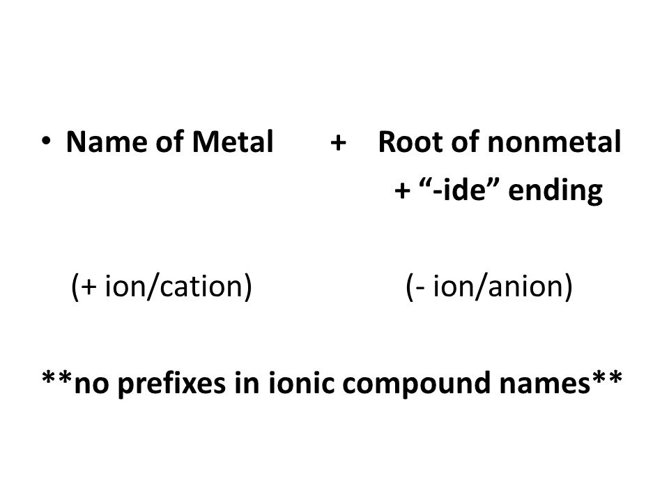 """Name of Metal + Root of nonmetal + """"-ide"""" ending (+ ion/cation) (- ion/anion) **no prefixes in ionic compound names**"""