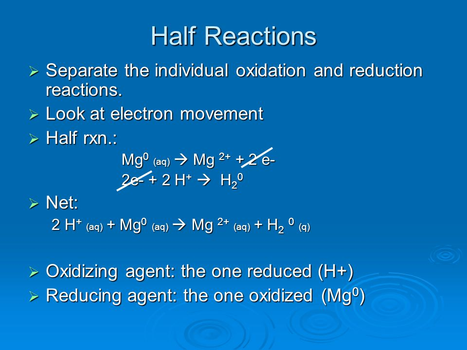 Half Reactions  Separate the individual oxidation and reduction reactions.
