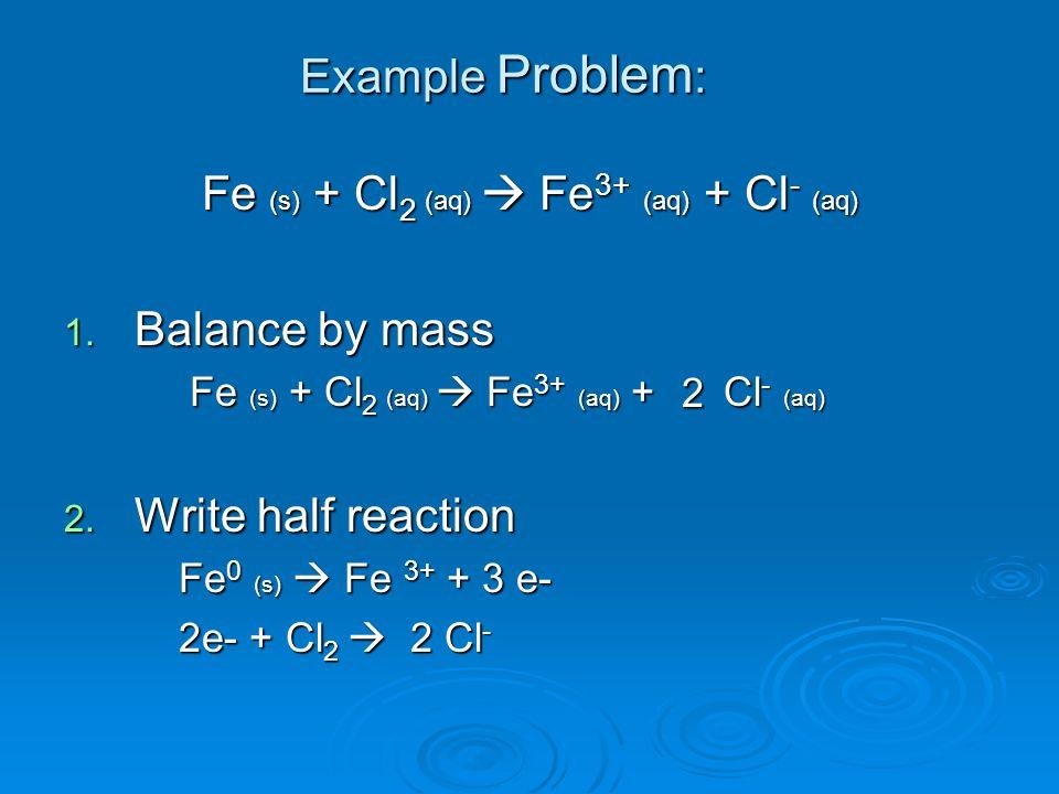 Fe (s) + Cl 2 (aq)  Fe 3+ (aq) + Cl - (aq) 1.