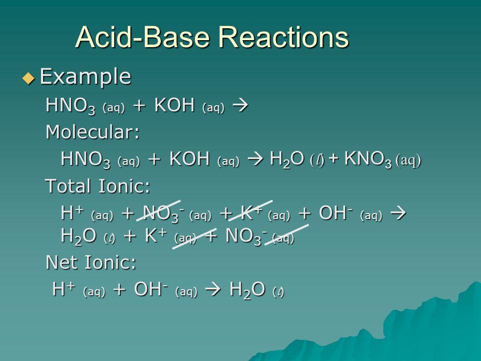  Example HNO 3 (aq) + KOH (aq)  Molecular: Total Ionic: H + (aq) + NO 3 - (aq) + K + (aq) + OH - (aq)  H 2 O ( l ) + K + (aq) + NO 3 - (aq) Net Ionic: H + (aq) + OH - (aq)  H 2 O ( l ) H + (aq) + OH - (aq)  H 2 O ( l ) Acid-Base Reactions H 2 O ( l ) + KNO 3 (aq)