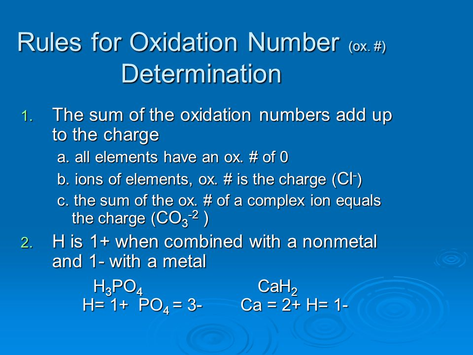Rules for Oxidation Number (ox. #) Determination 1.