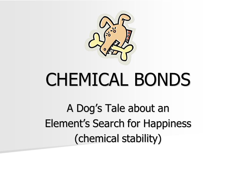 CHEMICAL BONDS A Dog's Tale about an Element's Search for Happiness (chemical stability)