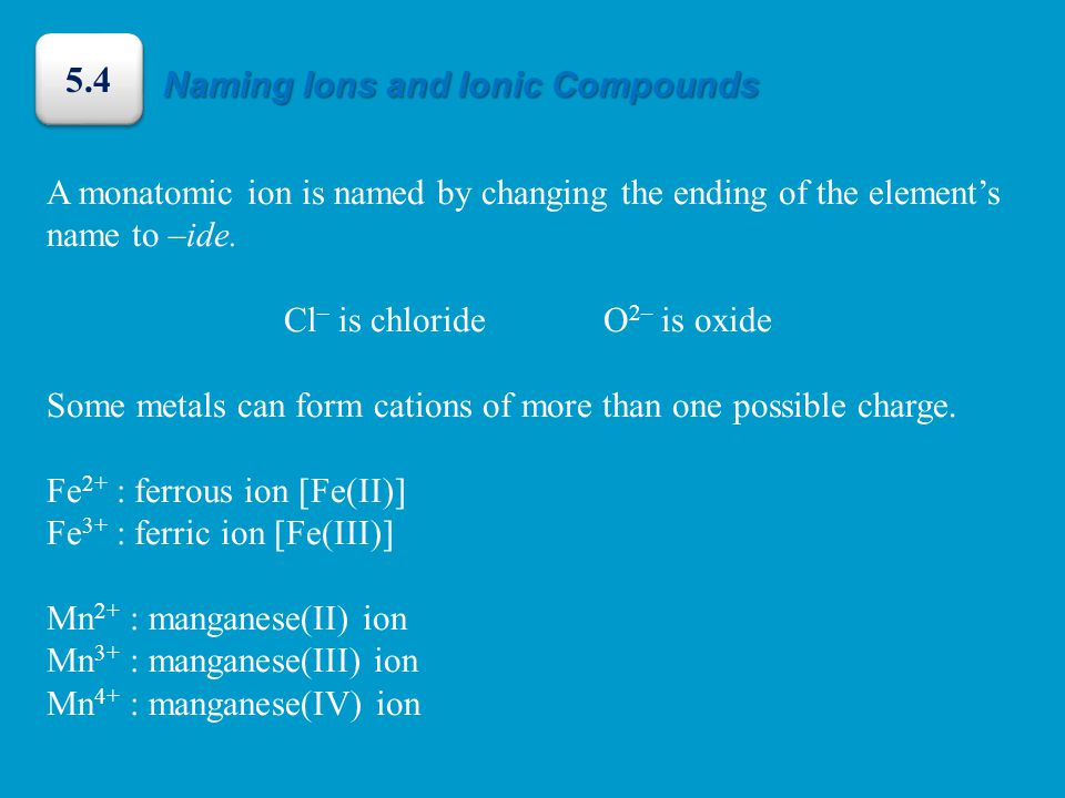 A monatomic ion is named by changing the ending of the element's name to –ide.