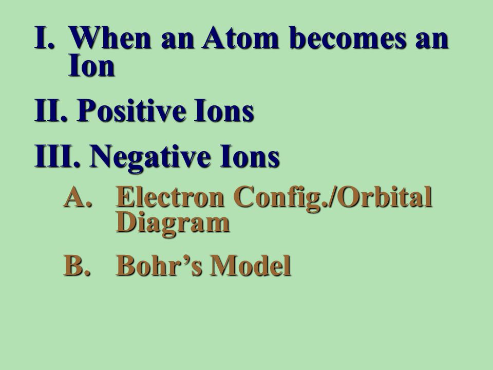 I.When an Atom becomes an Ion II. Positive Ions III.
