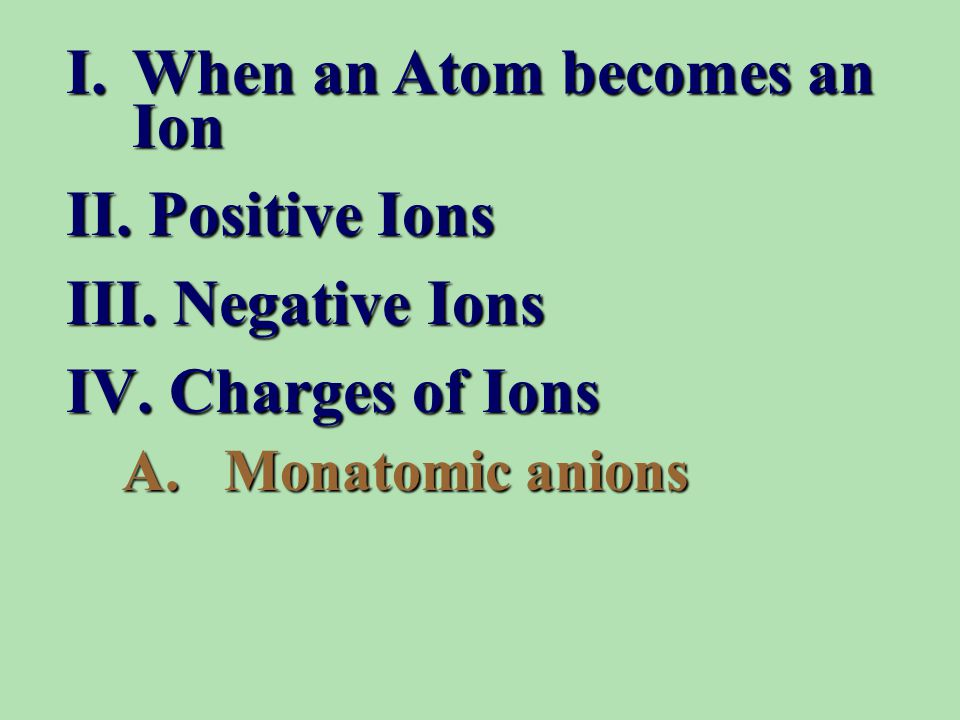 I.When an Atom becomes an Ion II.Positive Ions III.