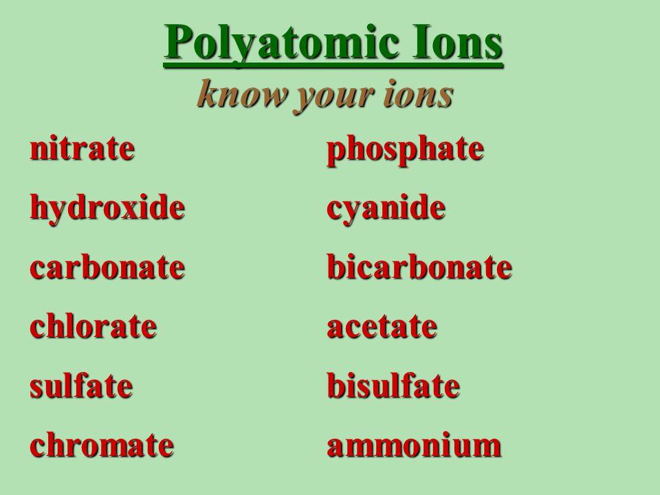 Polyatomic Ions nitratephosphate hydroxidecyanide carbonatebicarbonate chlorateacetate sulfatebisulfate chromateammonium know your ions