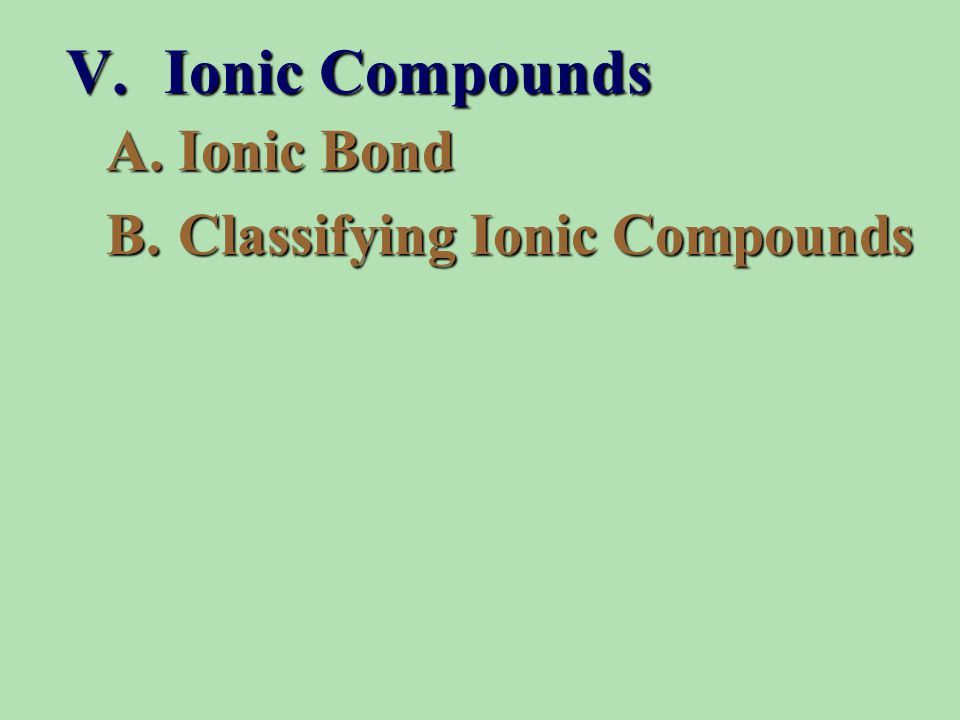 A.Ionic Bond B.Classifying Ionic Compounds V. Ionic Compounds