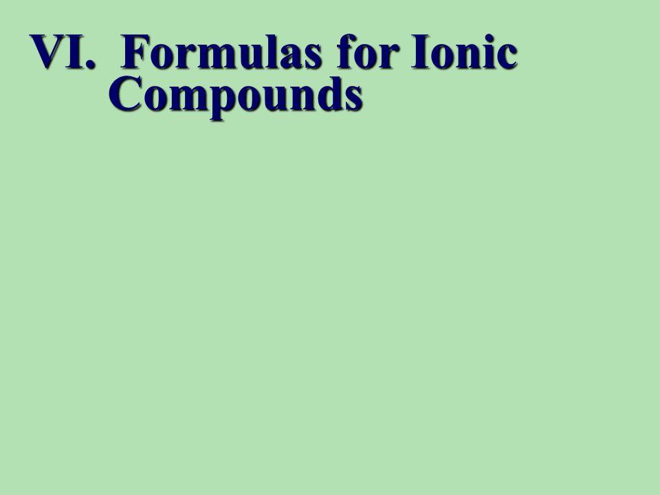 VI. Formulas for Ionic Compounds