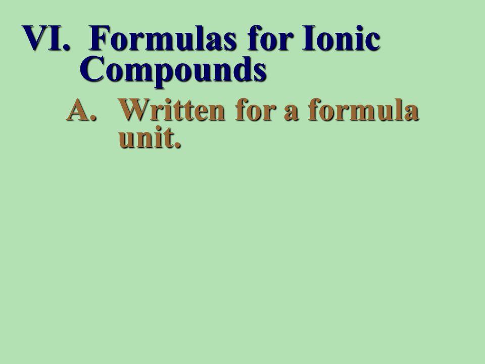 A.Written for a formula unit. VI. Formulas for Ionic Compounds