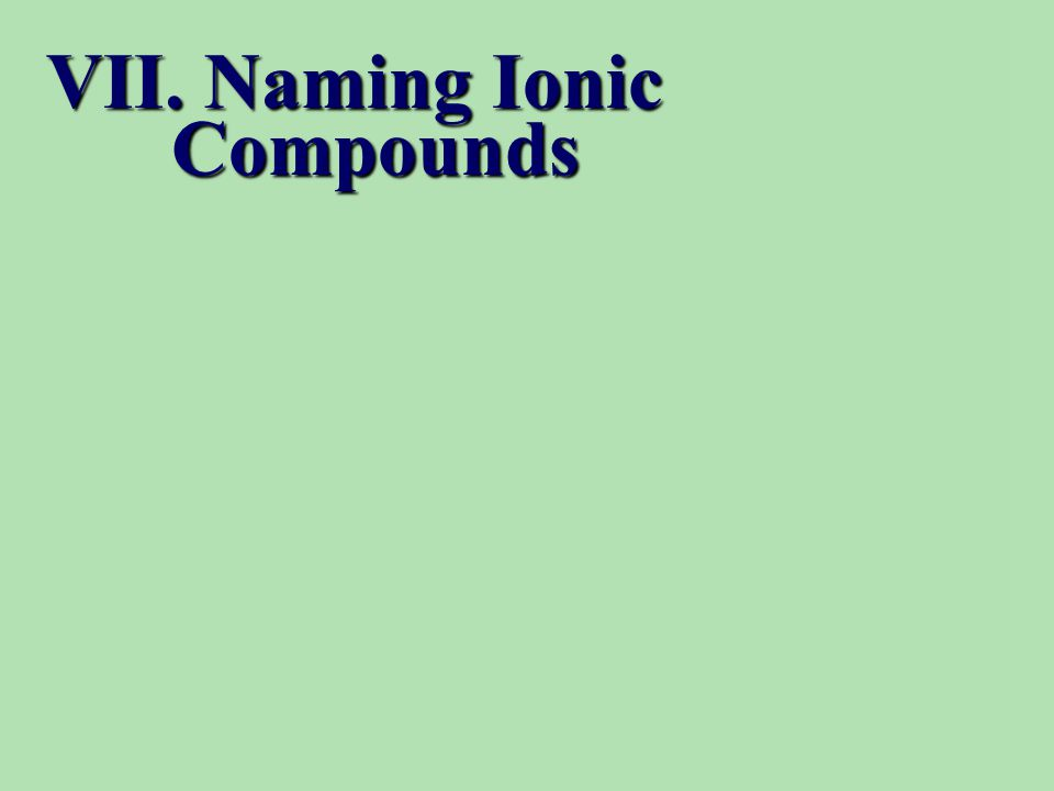 VII. Naming Ionic Compounds