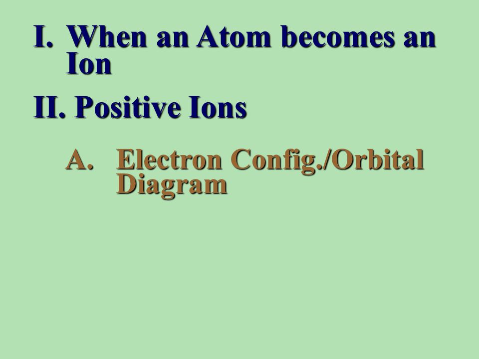 A.Electron Config./Orbital Diagram I.When an Atom becomes an Ion II. Positive Ions