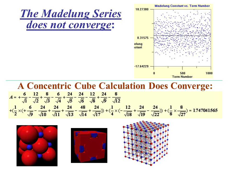 A Concentric Cube Calculation Does Converge: The Madelung Series does not converge: