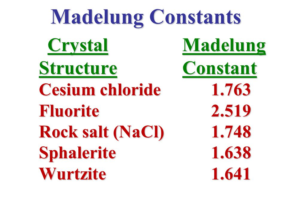 Madelung Constants Crystal Madelung Crystal Madelung Structure Constant Cesium chloride1.763 Fluorite2.519 Rock salt (NaCl)1.748 Sphalerite1.638 Wurtz