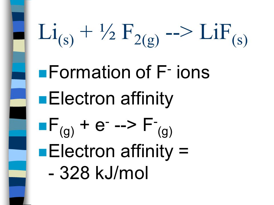 Li (s) + ½ F 2(g) --> LiF (s) n Dissociation of F 2 molecules to F atoms n ½ F 2(g) --> F (g) n 154 kJ/mol n Divide by two = 77 kJ/mol
