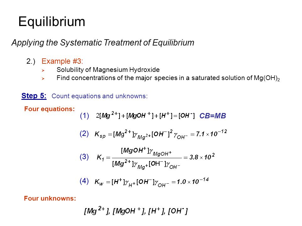 Step 5: Count equations and unknowns: Four equations: Four unknowns: Equilibrium Applying the Systematic Treatment of Equilibrium 2.)Example #3:  Sol