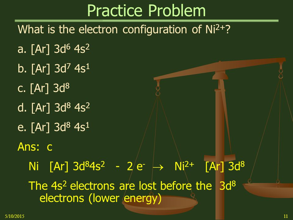 Practice Problem What is the electron configuration of Ni 2+ .