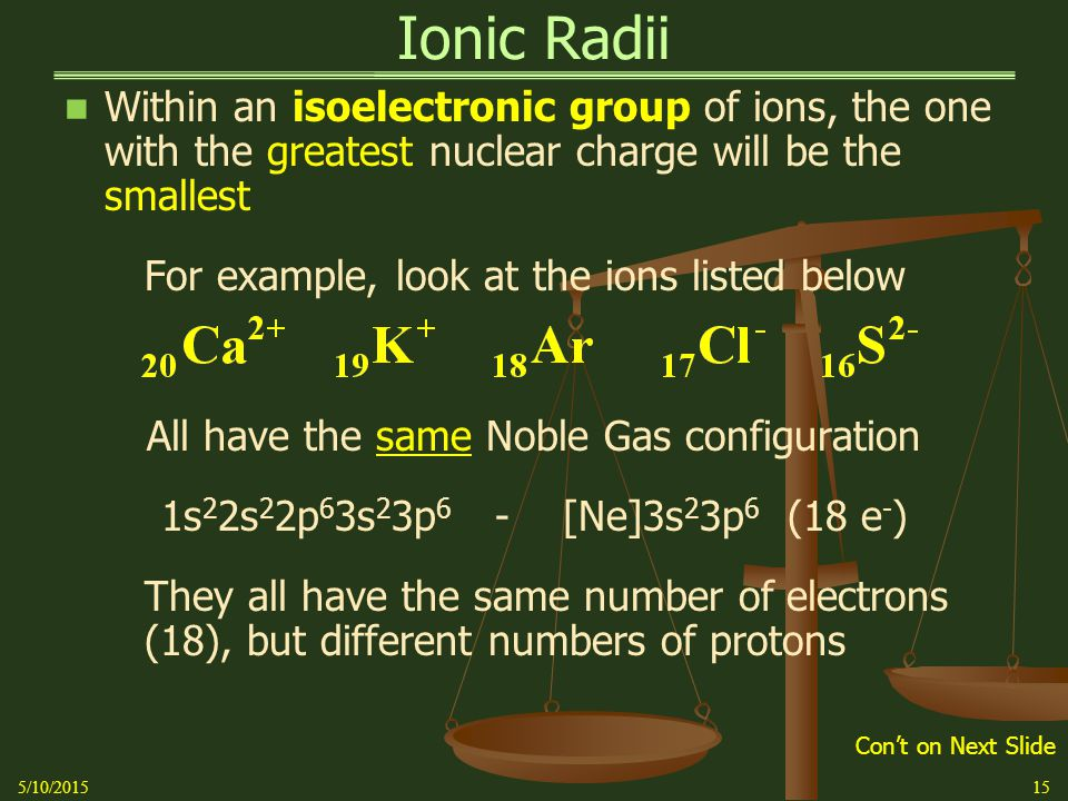 Ionic Radii Within an isoelectronic group of ions, the one with the greatest nuclear charge will be the smallest For example, look at the ions listed below All have the same Noble Gas configuration 1s 2 2s 2 2p 6 3s 2 3p 6 - [Ne]3s 2 3p 6 (18 e - ) They all have the same number of electrons (18), but different numbers of protons 5/10/201515 Con't on Next Slide