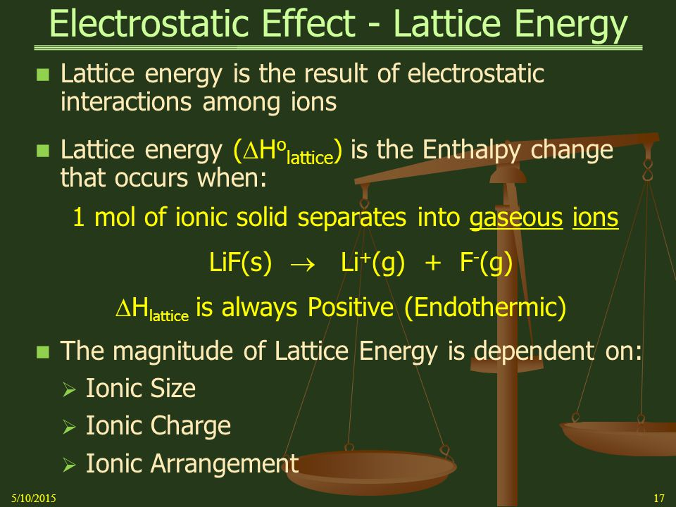 Electrostatic Effect - Lattice Energy Lattice energy is the result of electrostatic interactions among ions Lattice energy (  H o lattice ) is the Enthalpy change that occurs when: 1 mol of ionic solid separates into gaseous ions LiF(s)  Li + (g) + F - (g)  H lattice is always Positive (Endothermic) The magnitude of Lattice Energy is dependent on:  Ionic Size  Ionic Charge  Ionic Arrangement 175/10/2015