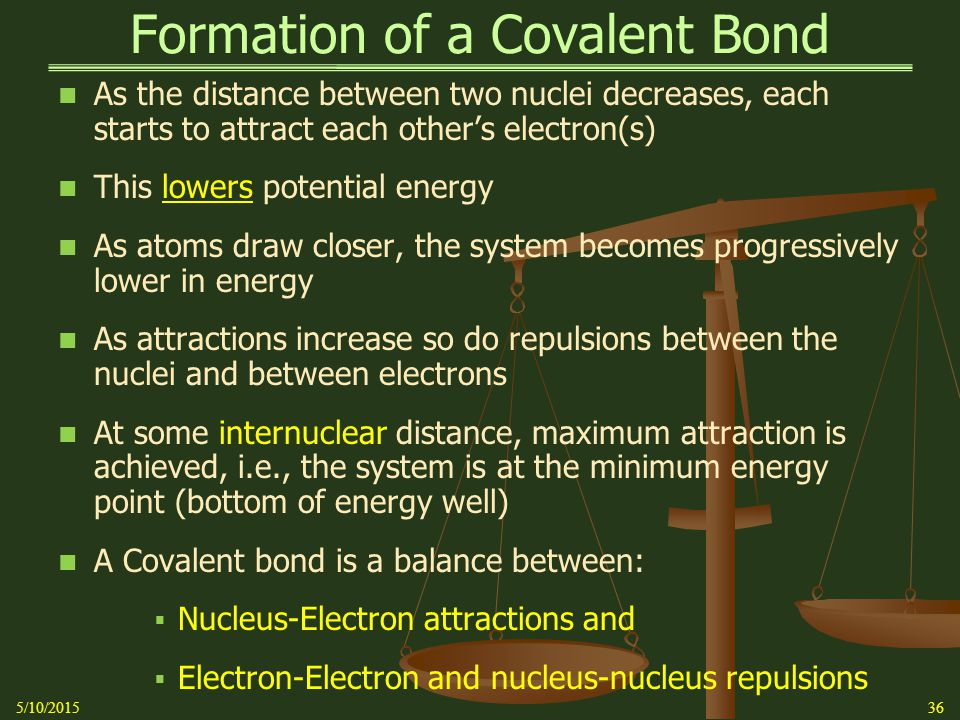 Formation of a Covalent Bond As the distance between two nuclei decreases, each starts to attract each other's electron(s) This lowers potential energy As atoms draw closer, the system becomes progressively lower in energy As attractions increase so do repulsions between the nuclei and between electrons At some internuclear distance, maximum attraction is achieved, i.e., the system is at the minimum energy point (bottom of energy well) A Covalent bond is a balance between:  Nucleus-Electron attractions and  Electron-Electron and nucleus-nucleus repulsions 5/10/201536