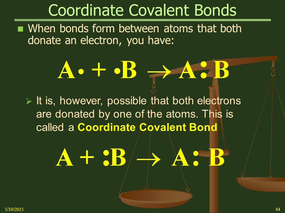 Coordinate Covalent Bonds When bonds form between atoms that both donate an electron, you have: 5/10/201544  It is, however, possible that both electrons are donated by one of the atoms.