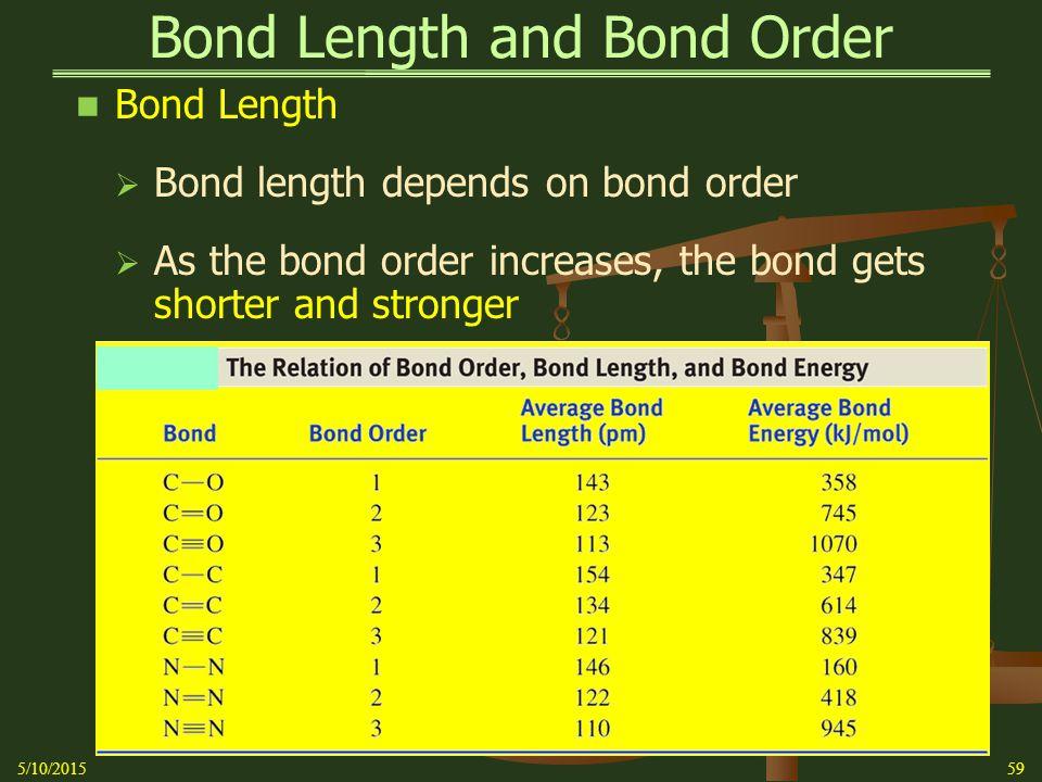 Bond Length and Bond Order Bond Length  Bond length depends on bond order  As the bond order increases, the bond gets shorter and stronger 5/10/201559