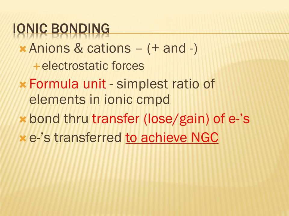  OBJECTIVES:  Describe three properties of ionic compounds.