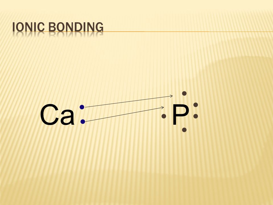 All e-'s must be accounted for,  each atom has NGC (stable) CaP combining calcium and phosphorus: