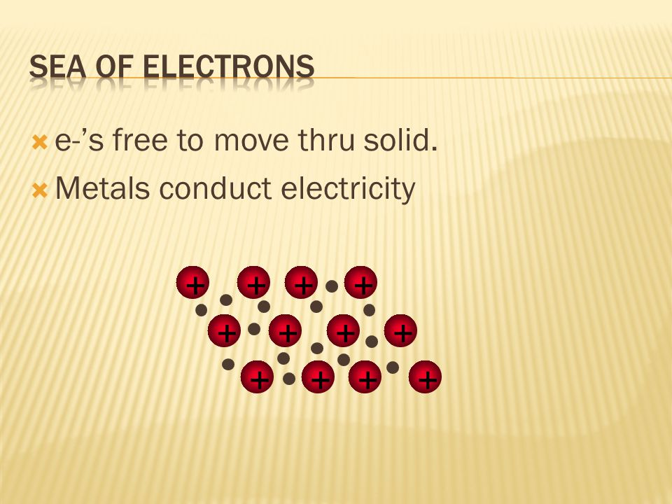  How metal atoms are held together in the solid.  Metals hold on to their valence e-'s weakly.