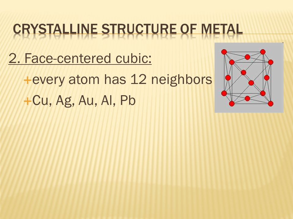  Metals are crystalline  Metals w/ 1 type of atom simplest crystalline solid  Compact & orderly patterns Fig.