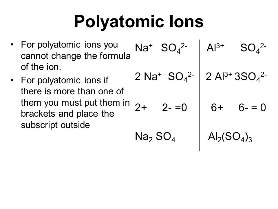 Polyatomic Ions For polyatomic ions you cannot change the formula of the ion. For polyatomic ions if there is more than one of them you must put them