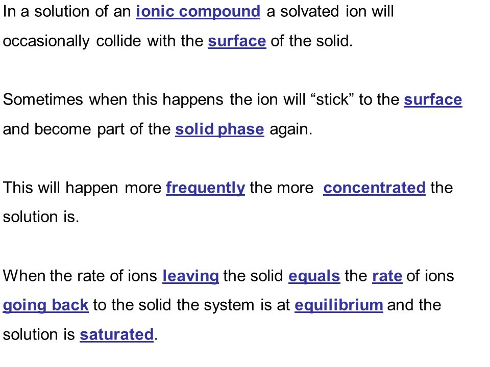 In a solution of an ionic compound a solvated ion will occasionally collide with the surface of the solid.