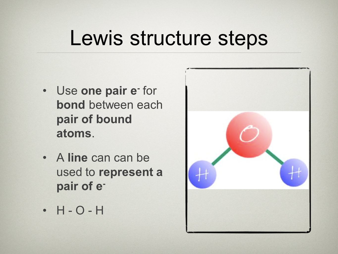 Lewis structure steps Use one pair e - for bond between each pair of bound atoms.