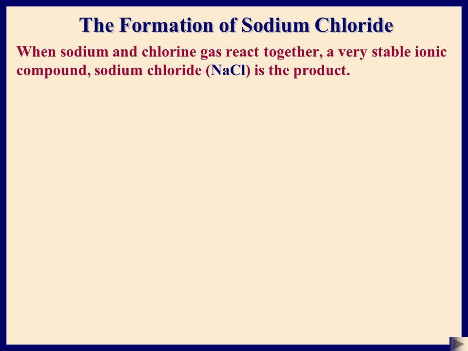 When sodium and chlorine gas react together, a very stable ionic compound, sodium chloride (NaCl) is the product.