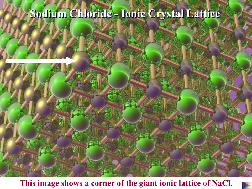 This image shows a corner of the giant ionic lattice of NaCl.