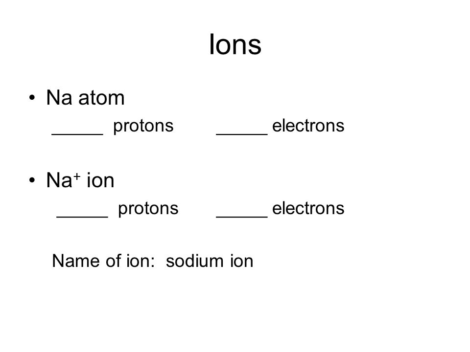 Ions Na atom _____ protons_____ electrons Na + ion _____ protons_____ electrons Name of ion: sodium ion