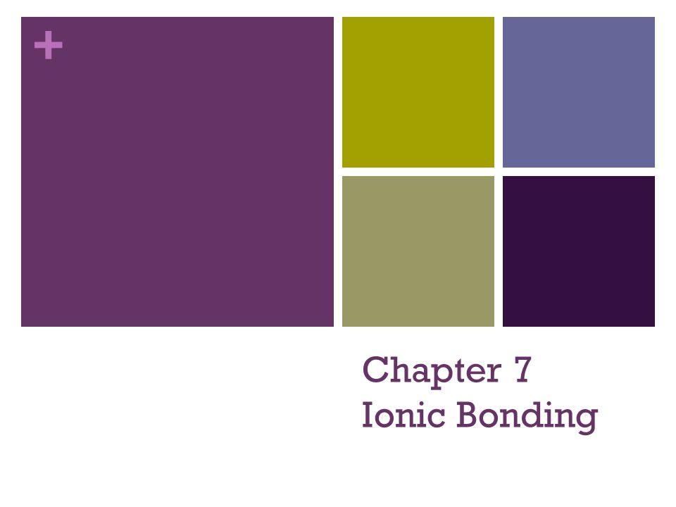 + Chapter 7 Ionic Bonding