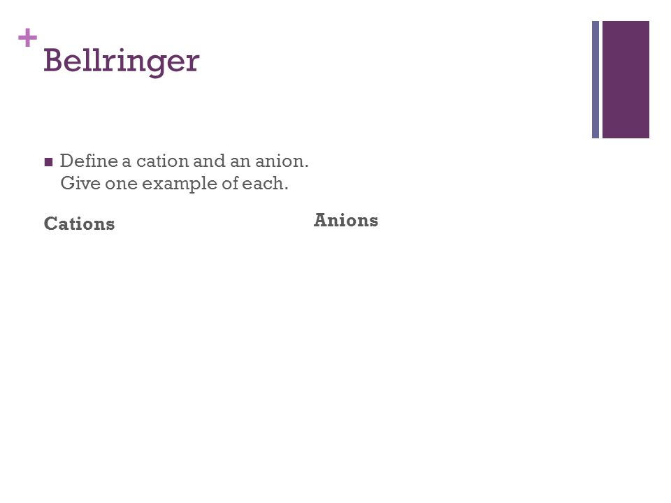 + Bellringer Define a cation and an anion. Give one example of each. Cations Anions