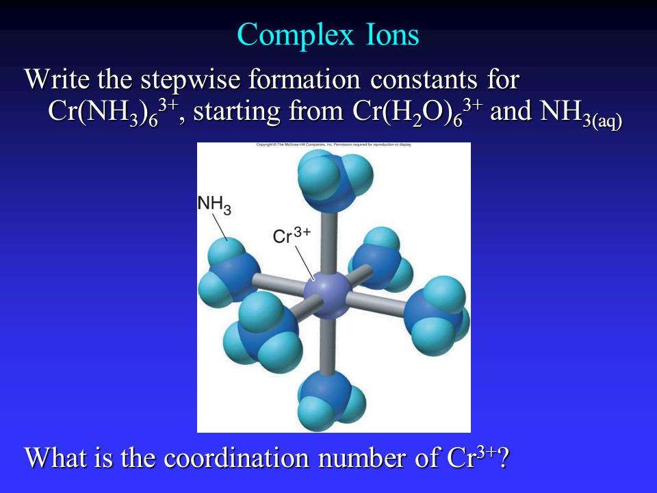 Complex Ions Write the stepwise formation constants for Cr(NH 3 ) 6 3+, starting from Cr(H 2 O) 6 3+ and NH 3(aq) What is the coordination number of Cr 3+