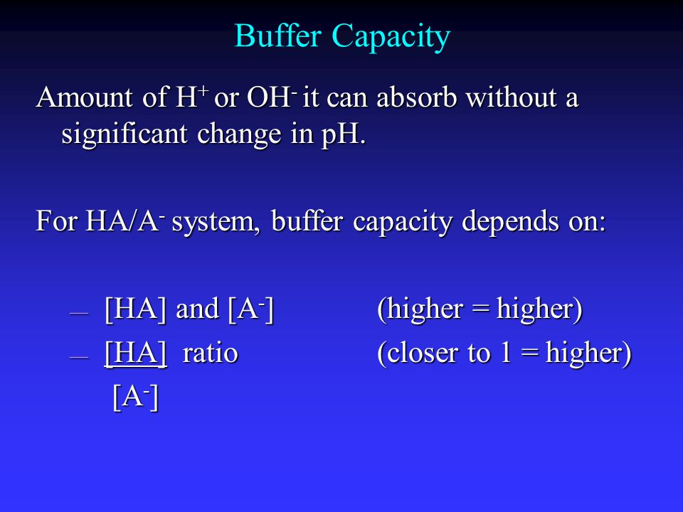 Buffer Capacity Amount of H + or OH - it can absorb without a significant change in pH.