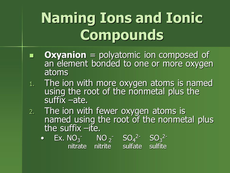 Naming Ions and Ionic Compounds Oxyanion = polyatomic ion composed of an element bonded to one or more oxygen atoms Oxyanion = polyatomic ion composed