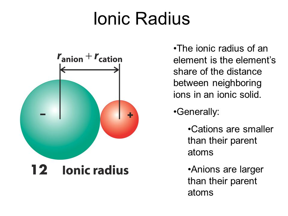Ionic Radius The ionic radius of an element is the element's share of the distance between neighboring ions in an ionic solid. Generally: Cations are