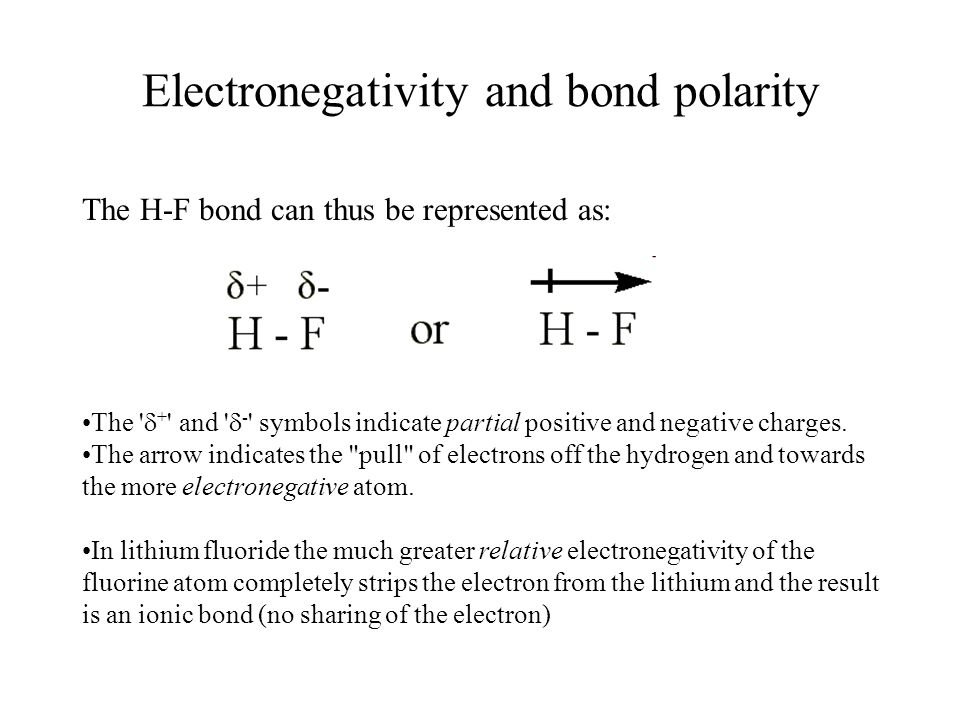 Electronegativity and bond polarity The H-F bond can thus be represented as: The  + and  - symbols indicate partial positive and negative charges.
