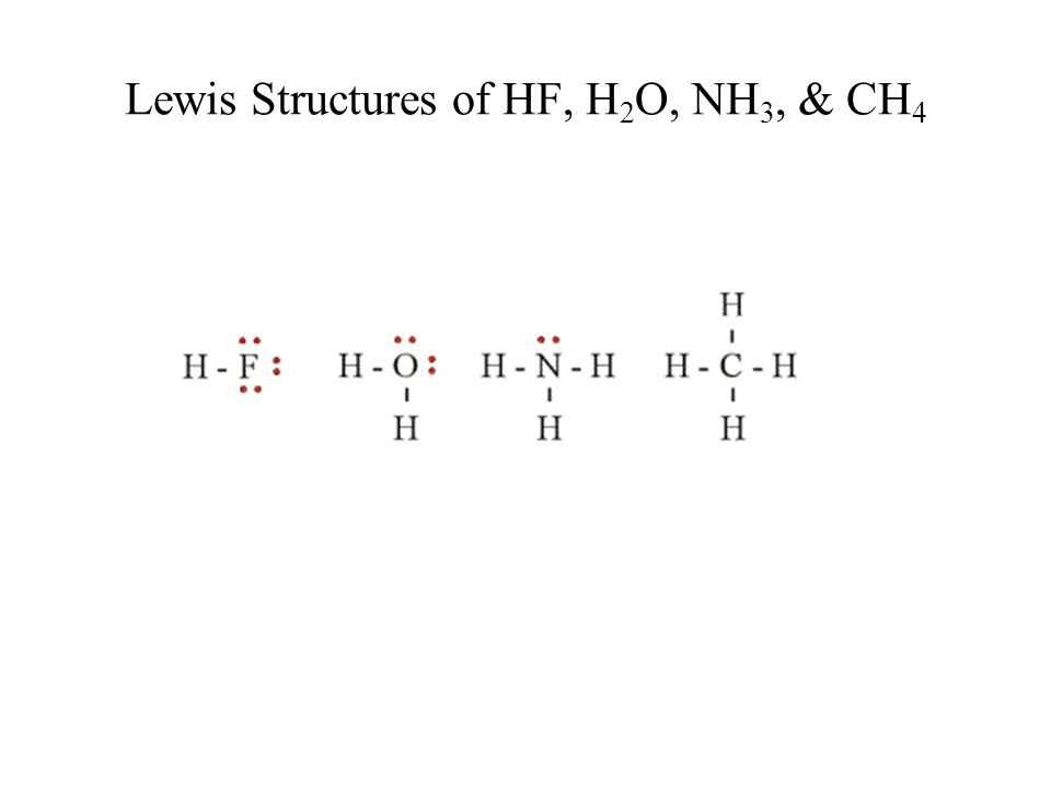 Lewis Structures of HF, H 2 O, NH 3, & CH 4
