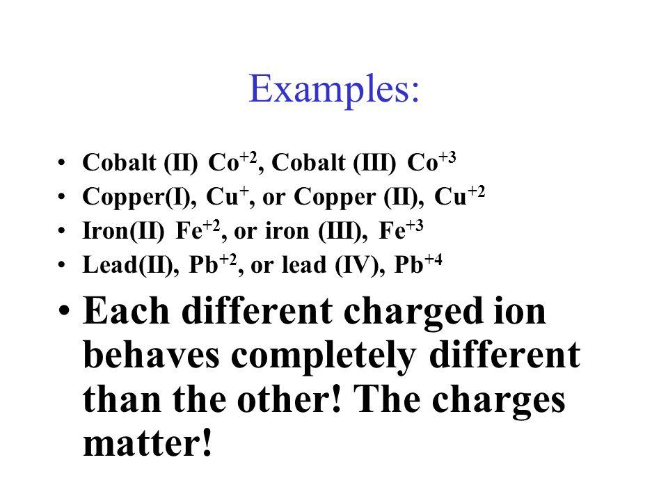 Examples: Cobalt (II) Co +2, Cobalt (III) Co +3 Copper(I), Cu +, or Copper (II), Cu +2 Iron(II) Fe +2, or iron (III), Fe +3 Lead(II), Pb +2, or lead (