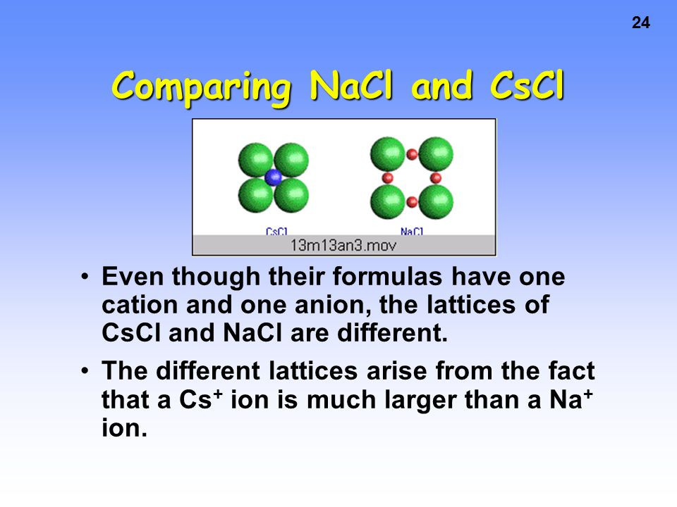 24 Comparing NaCl and CsCl Even though their formulas have one cation and one anion, the lattices of CsCl and NaCl are different.