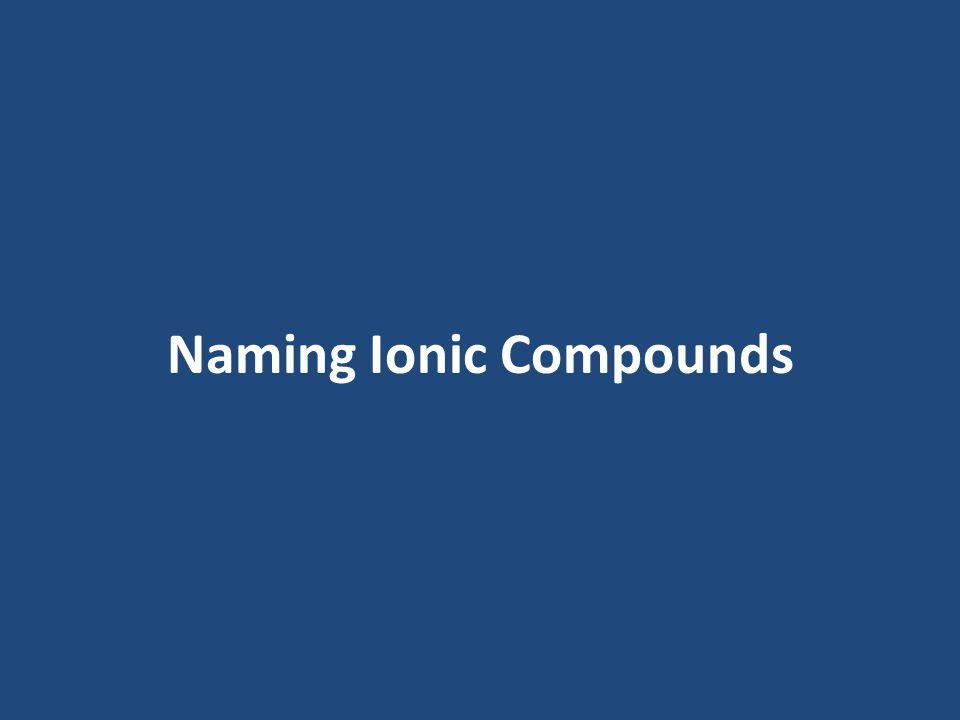 Write the formula of each of the ionic compounds named on your notes.