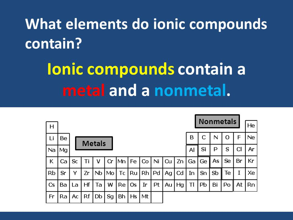 Ionic compounds contain a metal and a nonmetal. What elements do ionic compounds contain.