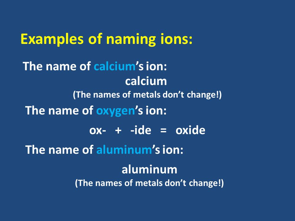 Examples of naming ions: The name of calcium's ion: The name of oxygen's ion: calcium (The names of metals don't change!) ox- + -ide = oxide The name of aluminum's ion: aluminum (The names of metals don't change!)